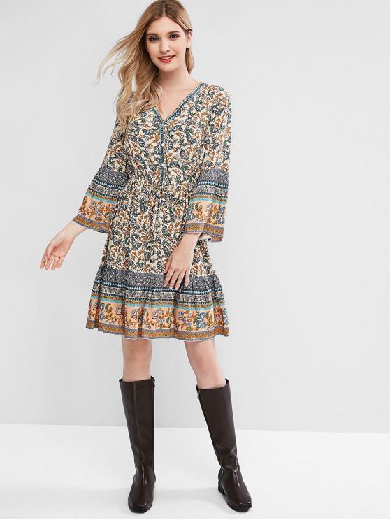 shop Boho Flower V Neck Flare Sleeve Dress - BLUE M