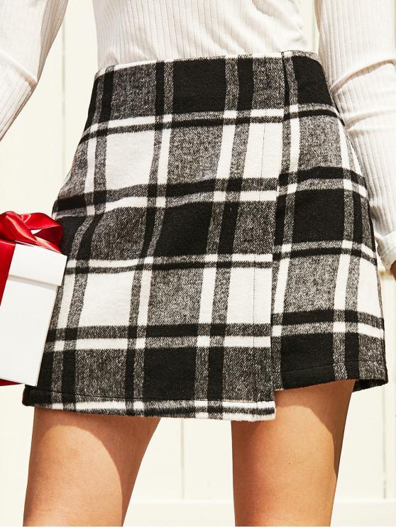 lady ZAFUL Wool Blend Overlap Plaid Mini Skirt - BLACK M