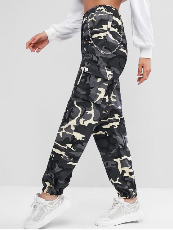 Pantalon de Jogging Camouflage à Chaîne avec Poches à Rabat - Gris M