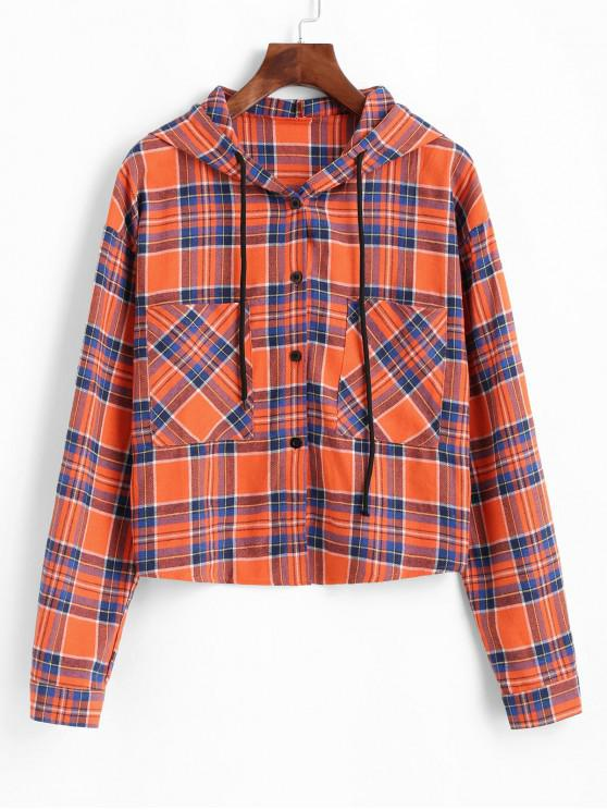 best ZAFUL Button Up Hooded Plaid Pockets Jacket - MULTI L
