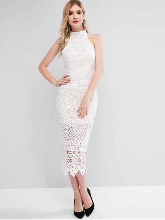 shop Lace Guipure Midi Bodycon Dress - WHITE L