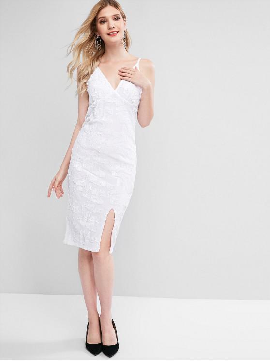 sale Sequins Velvet Holiday Dress - WHITE S