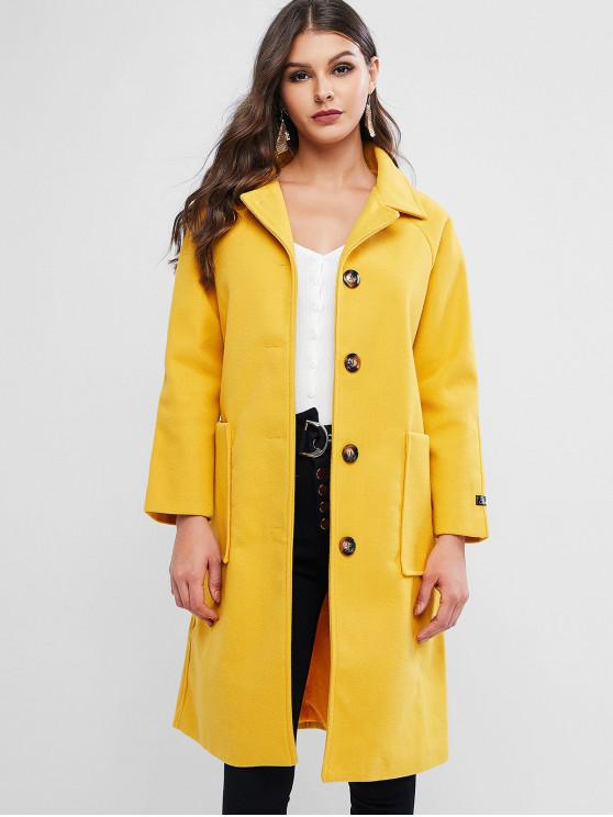 women Button Up Raglan Sleeve Long Pocket Coat - BRIGHT YELLOW M