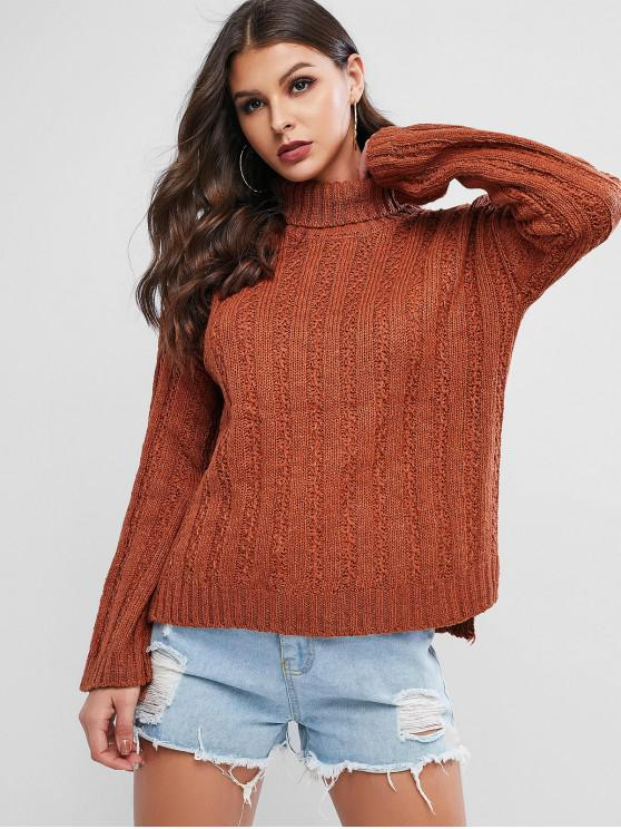 trendy Turtleneck Slit High Low Drop Shoulder Sweater - BROWN ONE SIZE