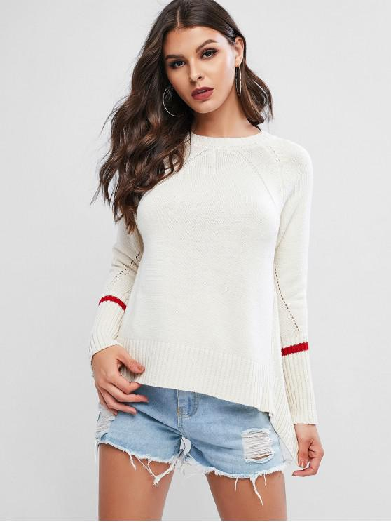 chic High Low Asymmetrical Slit Pointelle Raglan Sleeve Sweater - WHITE ONE SIZE