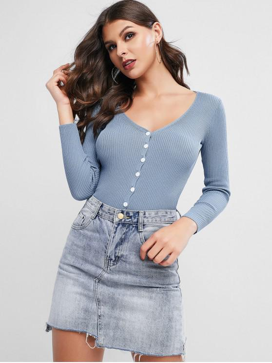buy Ribbed Knit Plunge Single Breasted Slim Cardigan - BLUE ONE SIZE