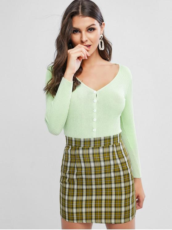 ladies Ribbed Knit Plunge Single Breasted Slim Cardigan - GREEN ONE SIZE