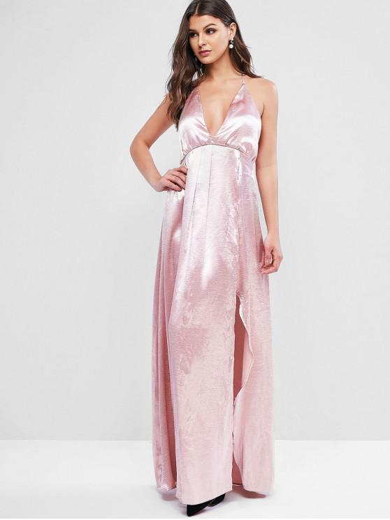 hot ZAFUL Backless Satin Slit Maxi Party Dress - PINK L