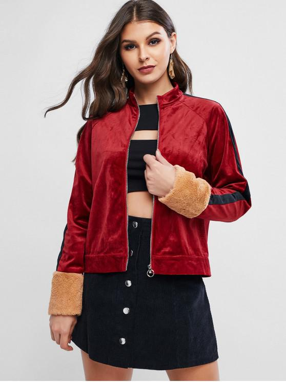 womens ZAFUL Faux Fur Cuffs Velvet Raglan Sleeve Jacket - CHERRY RED L