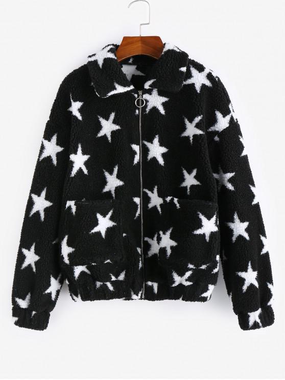 affordable ZAFUL Star Drop Shoulder Pocket Teddy Coat - BLACK M
