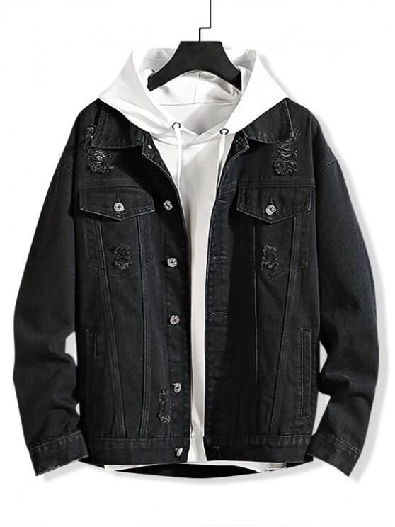 Rasgado color sólido chaqueta decorada Denim - Negro 4XL