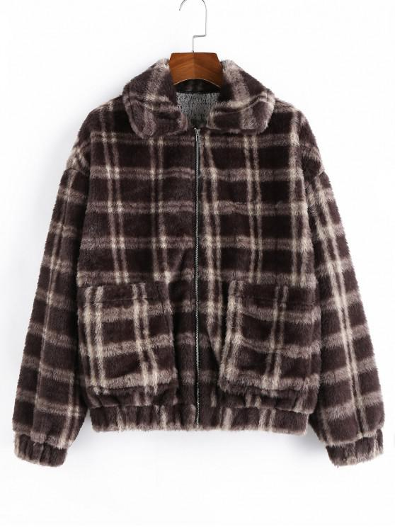 unique ZAFUL Plaid Faux Fur Drop Shoulder Pocket Coat - COFFEE 5X
