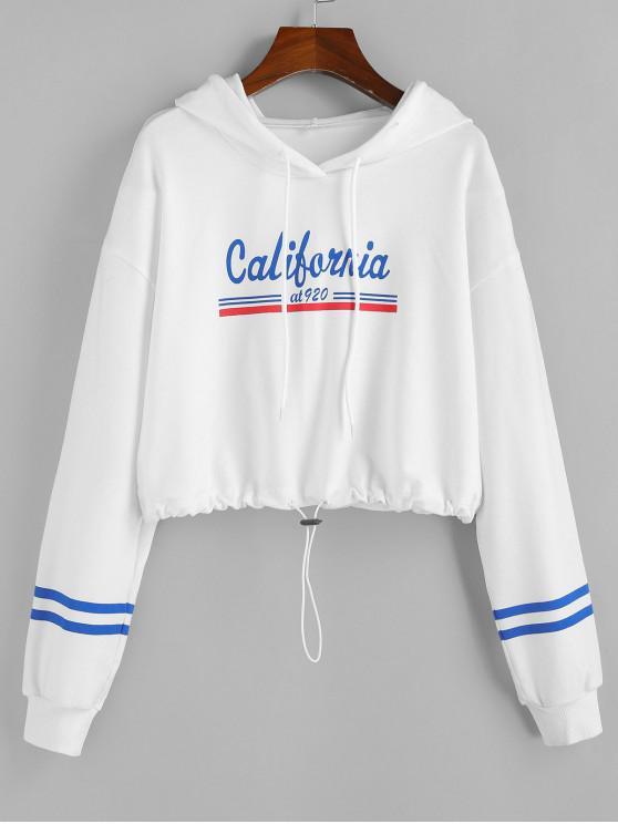 shops ZAFUL California Graphic Drawstring Hem Cropped Hoodie - WHITE XL