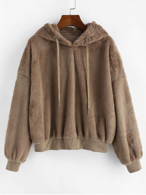 chic ZAFUL Faux Fur Fluffy Drop Shoulder Hoodie - MOCHA S