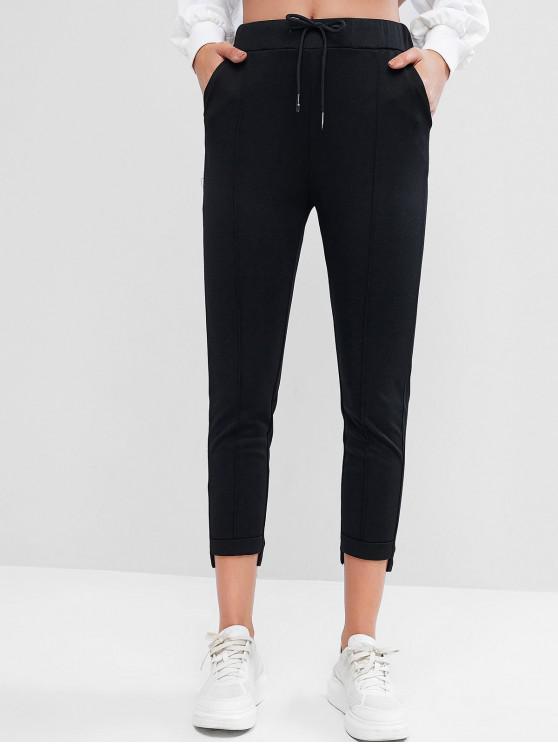 online Drawstring Cuffed Ankle Pants - BLACK XL
