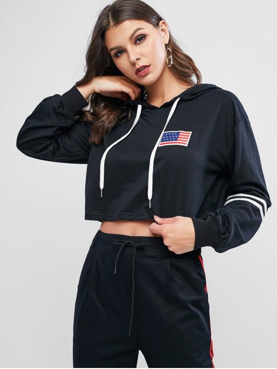 buy ZAFUL Patriotic American Flag Drop Shoulder Crop Hoodie - BLACK S
