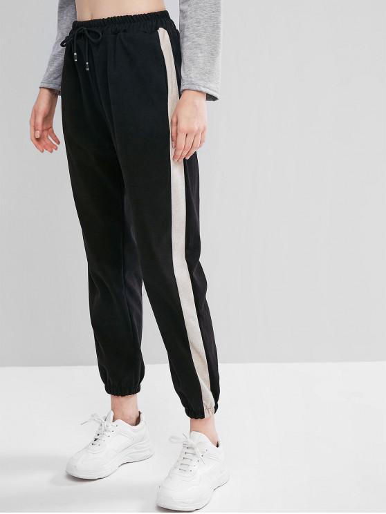 Șnurul Pantaloni colorblock ridicat Waisted jogger - Negru L
