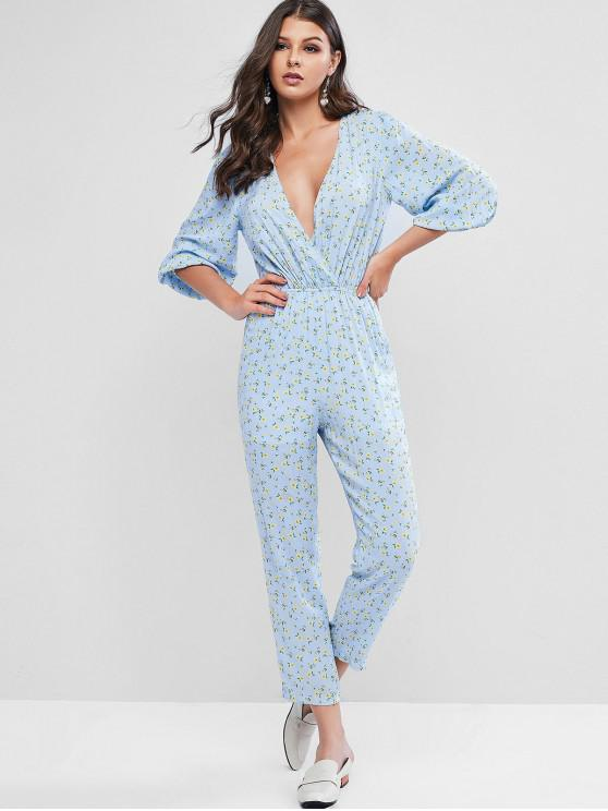 buy ZAFUL Flower Plunging Pocket Jumpsuit - POWDER BLUE M