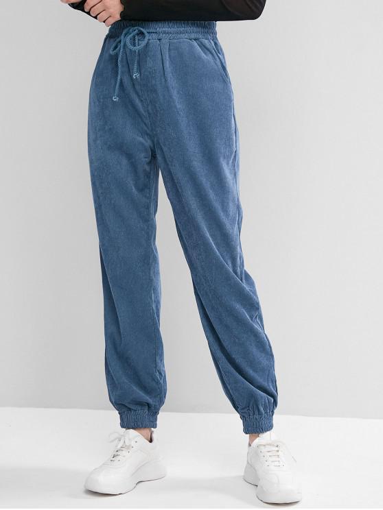 hot Plain Corduroy Jogger Pants - BLUE S