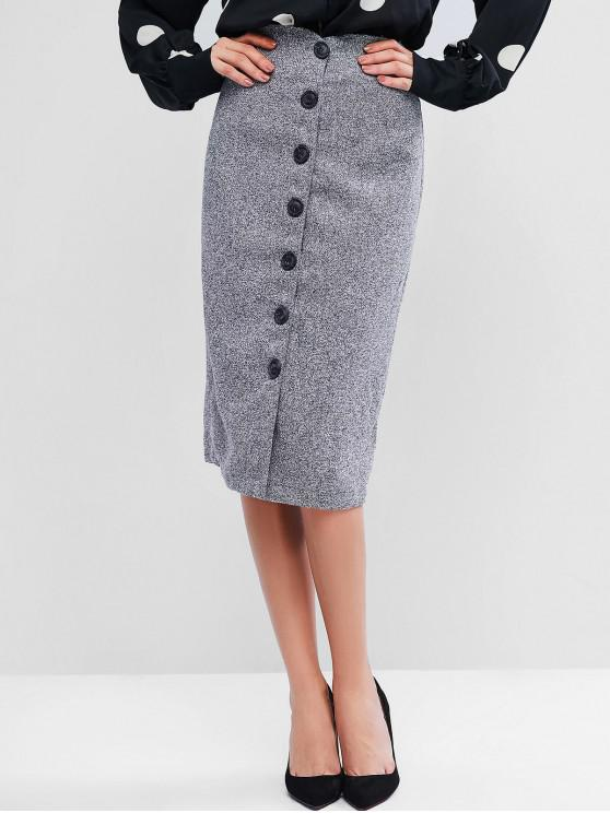 new Button Up Tweed Skirt - GRAY L