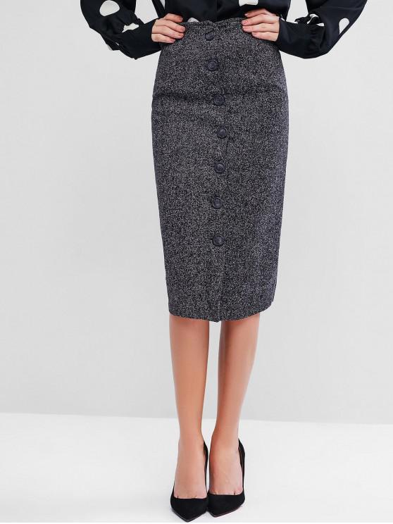 shops Button Up Tweed Skirt - BLACK L