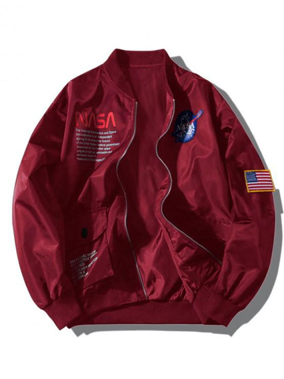 trendy ZAFUL Letter Graphic Embroidery American Flag Applique Pocket Jacket - RED WINE S