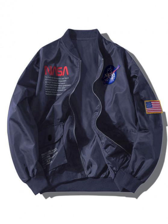 lady ZAFUL Letter Graphic Embroidery American Flag Applique Pocket Jacket - CADETBLUE S