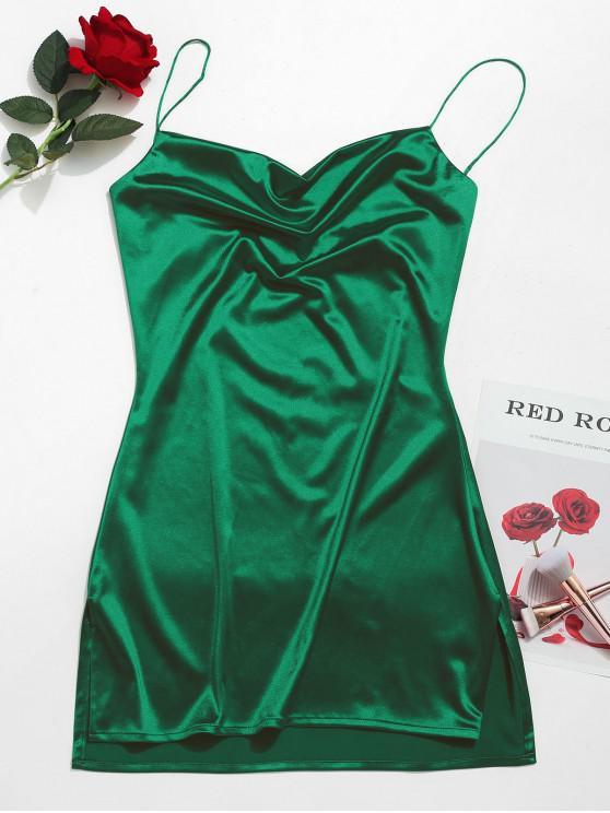lady Side Slit Satin A Line Cami Dress - GREEN XL