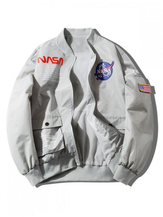 ladies ZAFUL Letter Graphic Embroidery American Flag Applique Pocket Jacket - GRAY GOOSE 2XL