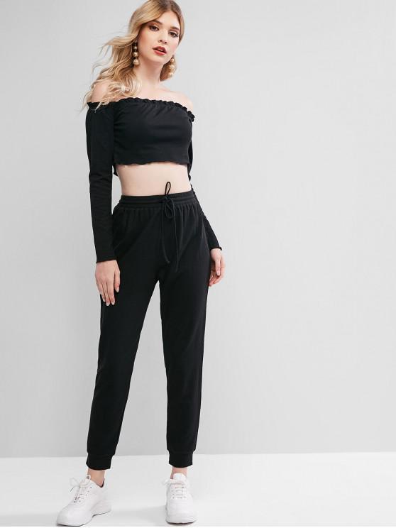 womens ZAFUL Off Shoulder Crop Drawstring Two Piece Suit - BLACK L