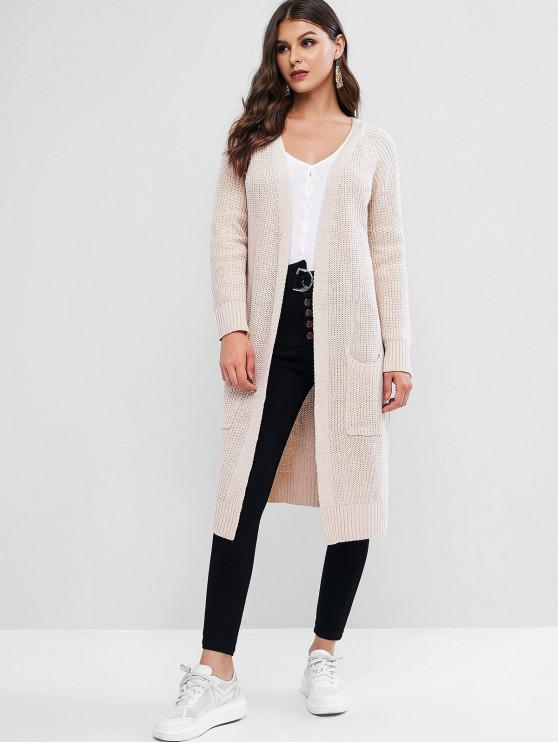 womens Collarless Open Front Pocket Slit Longline Cardigan - WARM WHITE ONE SIZE