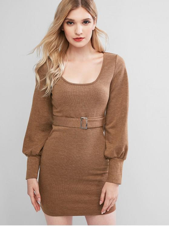shops ZAFUL Knitted Belted Bodycon Mini Dress - WOOD S