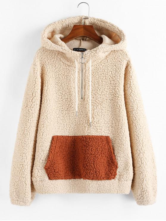 affordable ZAFUL Half-zip Faux Shearling Hoodie - APRICOT XL