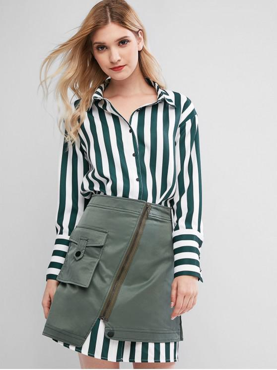 fancy Striped Longline Shirt with Asymmetrical Skirt Set - DEEP GREEN L