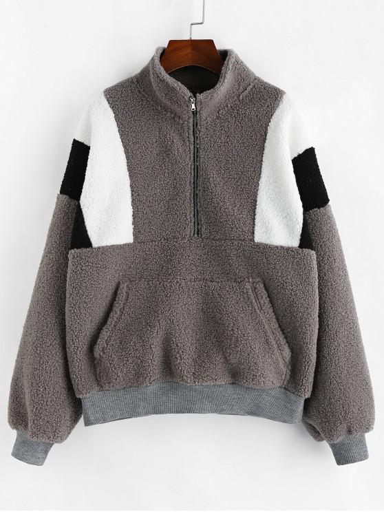 shop ZAFUL Half-zip Colorblock Teddy Sweatshirt - BATTLESHIP GRAY S
