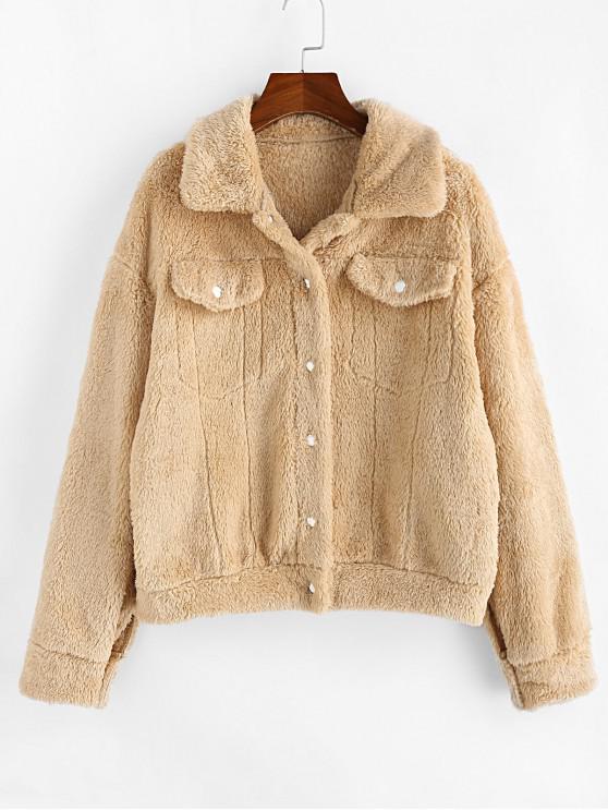 ladies ZAFUL Snap Button Drop Shoulder Fluffy Teddy Coat - LIGHT KHAKI S
