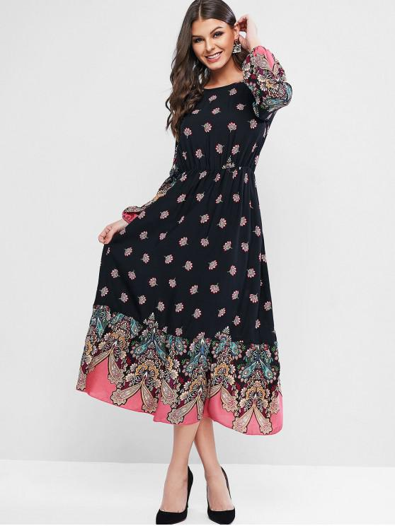 women's ZAFUL Flower Flounce Hem Long Sleeve Dress - BLACK L