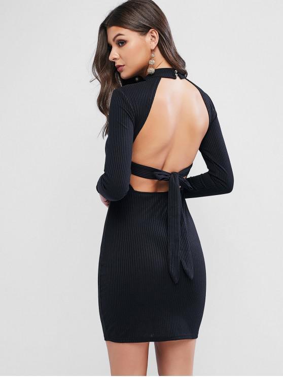 Mini Robe Moulante Côtelée Nouée Ouverteau Dos - Noir L