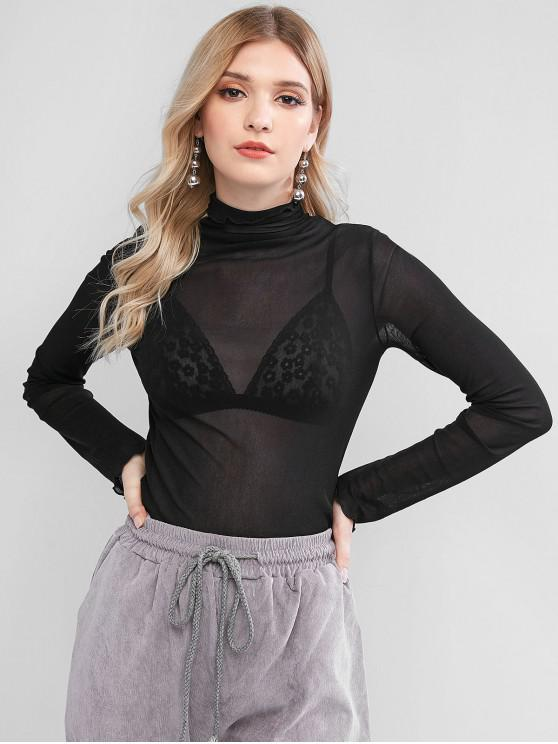 unique Mesh Lettuce See Thru Long Sleeve Tee - BLACK ONE SIZE