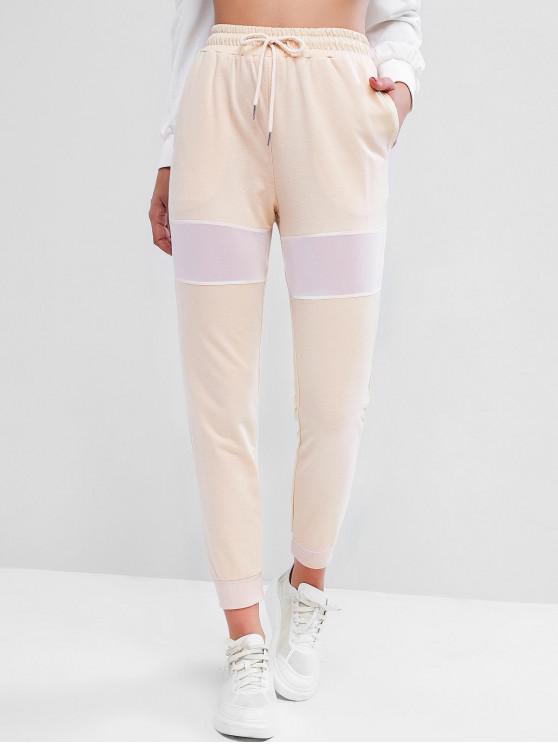 sale Drawstring Pockets Mesh Panel Jogger Pants - LIGHT KHAKI M