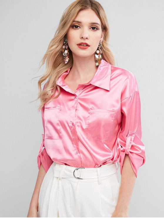 ladies Satin Chest Pocket Roll Tab Sleeve Curved Shirt - HOT PINK M