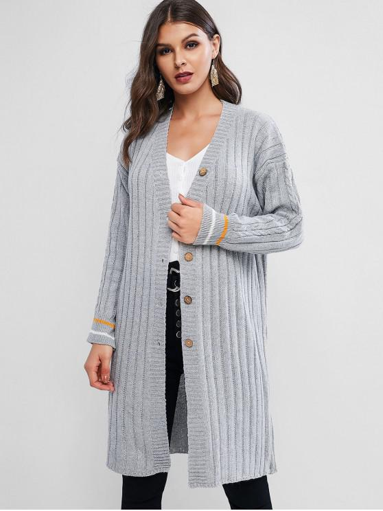 online Drop Shoulder Plunge Single Breasted Long Cardigan - GRAY ONE SIZE