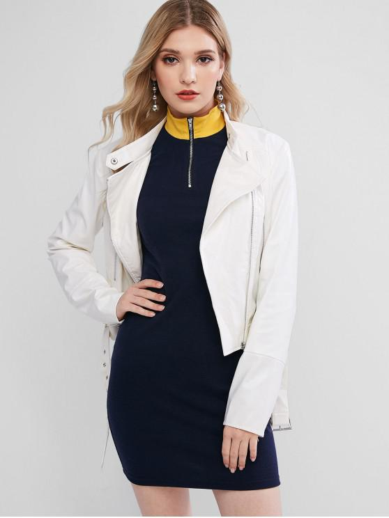 trendy ZAFUL Asymmetric Zipper Belted Solid Faux Leather Jacket - WHITE M