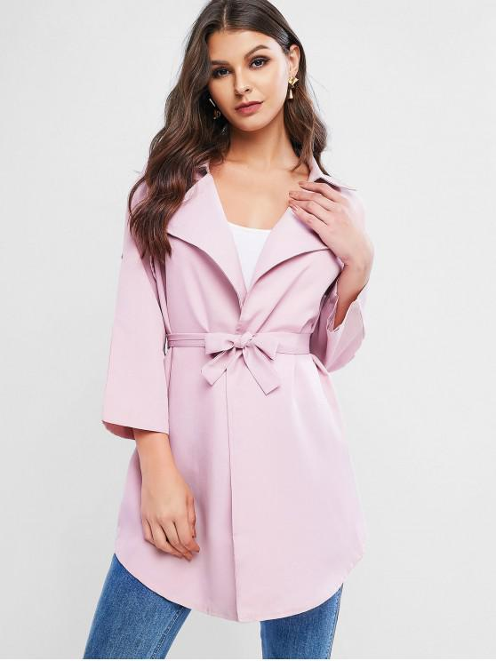 hot Roll Sleeve Wrap Trench Coat - PINK L