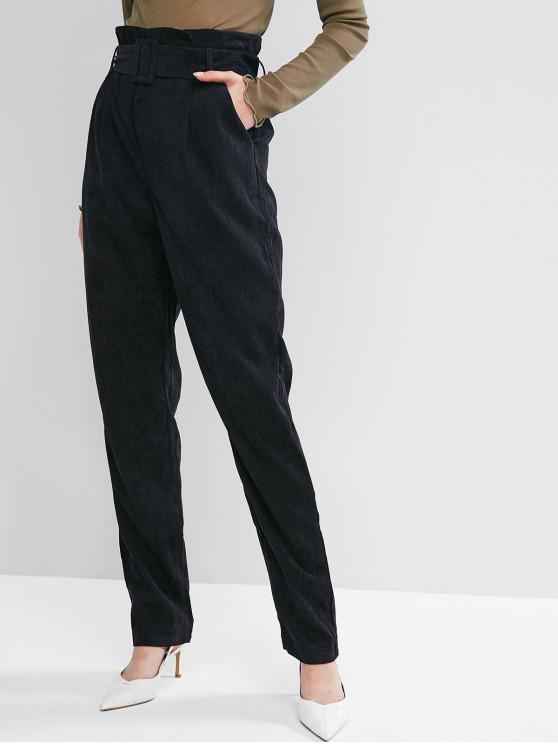 ladies High Waist Belted Corduroy Pants - BLACK XL