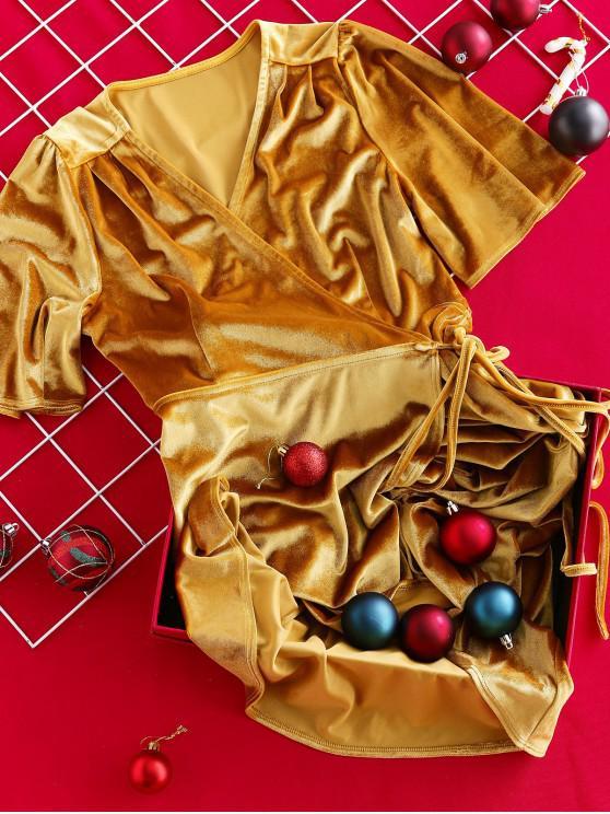 women ZAFUL Velvet Asymmetrical Midi Wrap Dress - GOLDEN BROWN XL