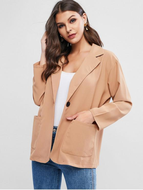 affordable Front Pocket One Button Blazer - CARAMEL ONE SIZE