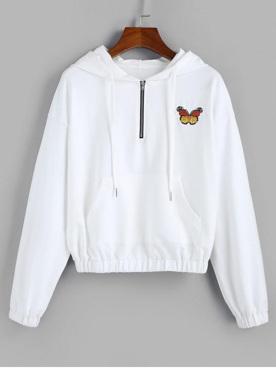 fashion ZAFUL Butterfly Embroidered Drop Shoulder Front Pocket Hoodie - WHITE XL