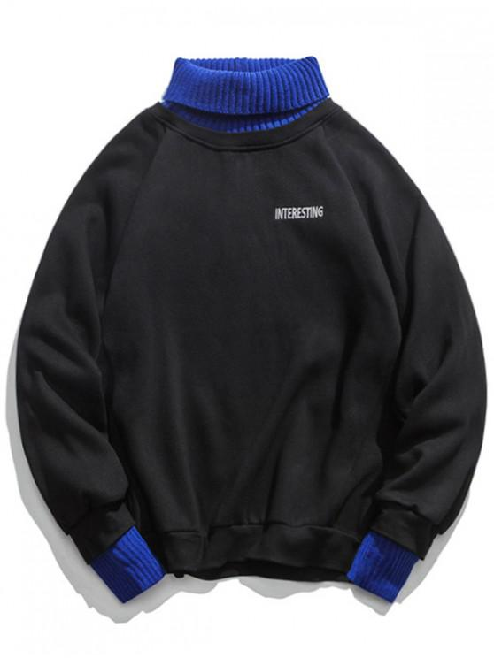 unique 2 in 1 Turtleneck Fleece Sweatshirt - BLACK L