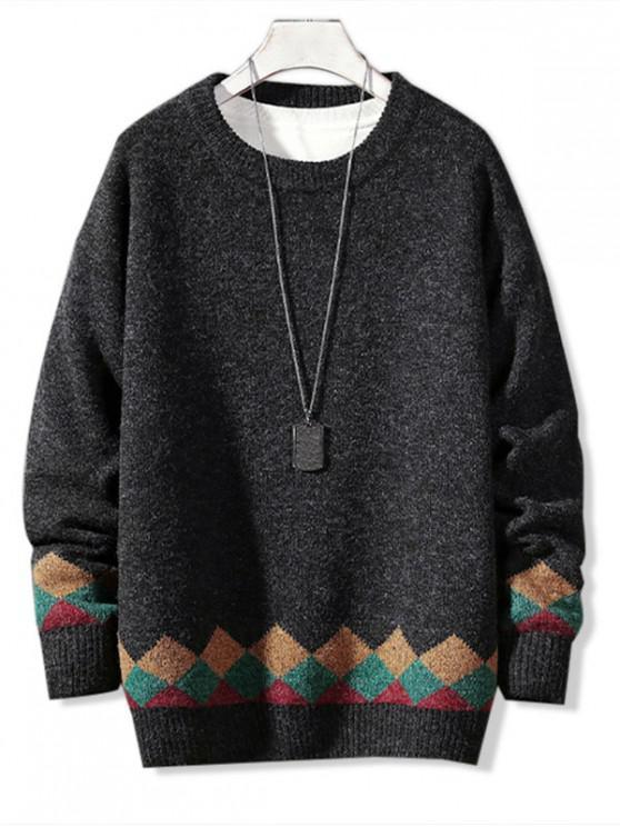 new Casual Geometric Pattern Pullover Sweater - DARK GRAY L